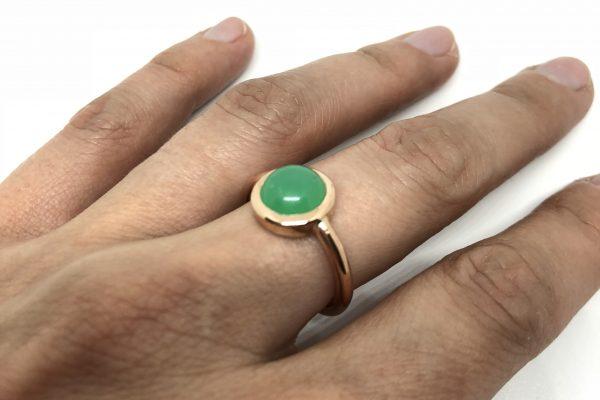 Rosé gouden ring met agaat - Nele Blanckaert