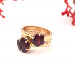 Rosé gouden stapelringen met granaat_Nele Blanckaert